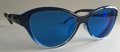 Blue tinted cats eye frames