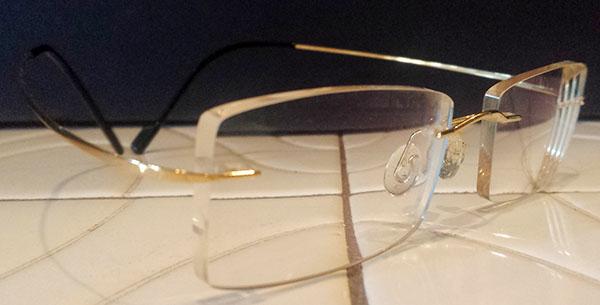 mens rimless eyeglasses gold